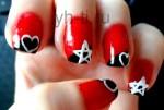 Простые рисунки на ногтях: сердечки и звездочки