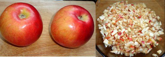 Режем яблоки (можно вместо них добавить отварной рис)