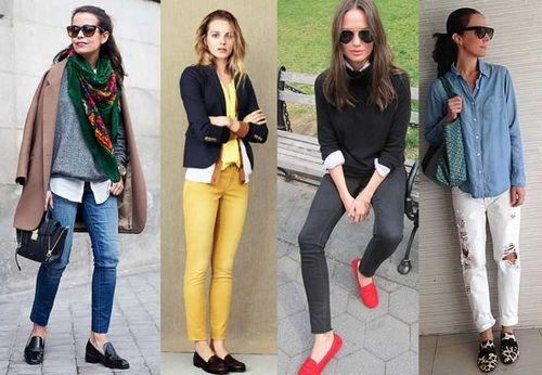 Женские лоферы с брюками