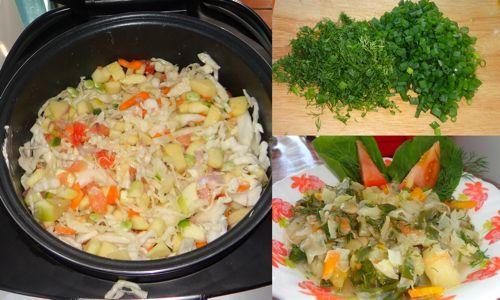 Отправляем овощи для рагу в мультиварку и режем зелень
