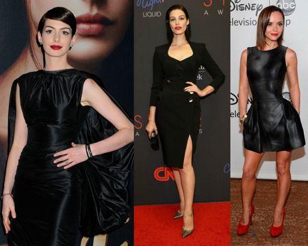 Черное платье + красная помада
