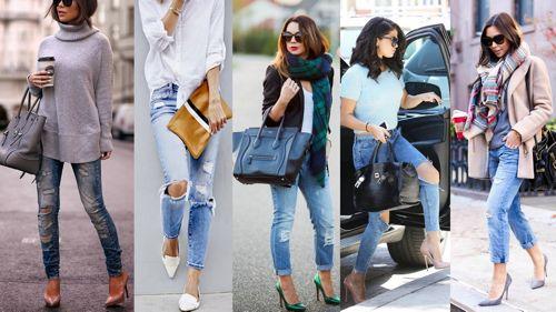 С чем сочетать рваные  джинсы