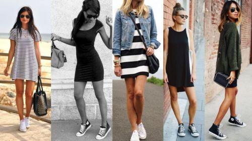 Кеды с короткими платьями