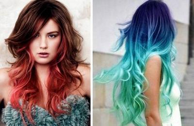 Цветное окрашивание волос омбре