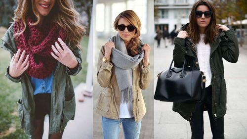 Крупные сумки и шарфы - лучшее дополнение к парке