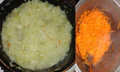 Обжариваем морковь и лук по отдельности