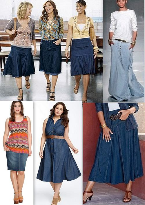 Джинсовые юбки для полных