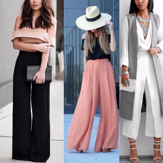 Варианты, с чем носить широкие брюки