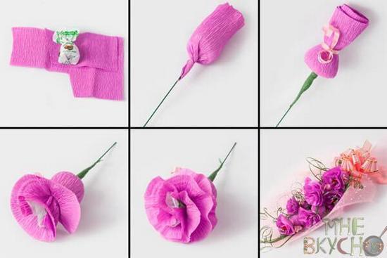 Как завернуть конфетку в бумажный цветок