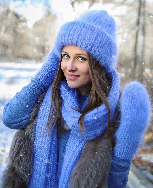 Зимняя шапка из мохера